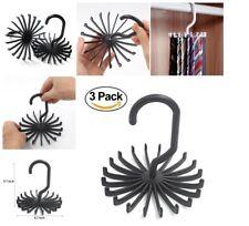 3 Pack Tie Rack Rotating 20 Hook holder Ties scarf belt Organizer closet (Black)