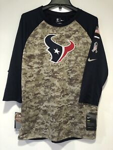 New Men's NIKE SALUTE TO SERVICE NFL HOUSTON TEXANS 3/4 RAGLAN T-SHIRT Sz L