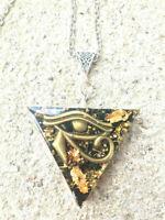 Orgone Orgonite triangle eye Eye of Horus, 24K Gold, Shungite, protection