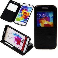 Samsung Galaxy S4 Flip Tasche Case Hülle Design Klapp Etui Window Cover Schwarz
