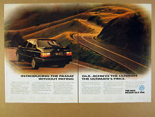 1992 vw Volkswagen PASSAT GLX VR6 black car photo vintage print Ad