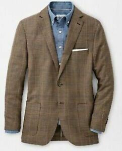 NWT Peter Millar Houndstooth Soft Sport Coat MS20J04 Size L in Khaki $598