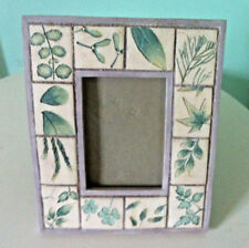 Ceramic Photo Frame Chunky Carved Flora Garden Nature Quality Picture Frame Chic
