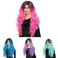 Adult Ladies Gothic Glam Witch Neon Dip Dye Wig Halloween Fancy Dress Accessory