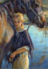 CHOP429 hand painted little girl with her find horse oil painting on canvas art