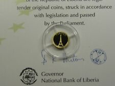 FRANCE PARIS EIFFEL TOWER 2008 LIBERIA $12 MINI .62 GRAM 999 GOLD COIN RARE #D