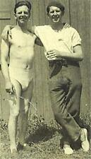 VINTAGE PHOTO: TWO Affectionate Men BROTHERS w BULGES & CIGARETTES Outdoors