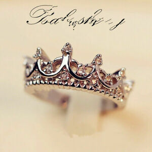 Women 925 Silver Gorgeous Zirconia Jewelry Wedding Party Crown  Rings Size 5-10