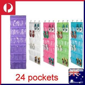 24 Pockets Hanging Shoe Organiser Hanger Rack Door Wall Space Saver Random Color