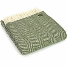 TWEEDMILL TEXTILES KNEE RUG 100% Wool Sofa Throw Blanket FISHBONE OLIVE GREEN