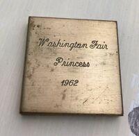 WASHINGTON MO FAIR PRINCESS 1962 COMPACT: Vtg 60s Powder Blush Gold Makeup Case