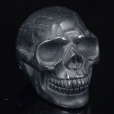 "2"" Natural Hematite Black Skull Statue Carved Gemstone Figurine Halloween Decor"
