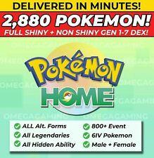 Pokemon Home 2880 Pokemon COMPLETE Gen 1-7 DEX 800+ EVENT, Legendary, ALL Forms!