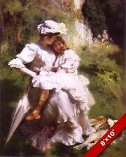 MOTHER HOLDING DAUGHTER CLOSE VICTORIAN ERA DRESS PAINTING ART REAL CANVAS PRINT