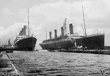Bateau Paquebot Le Titanic et L'Olympe - tirage repro photo ancienne