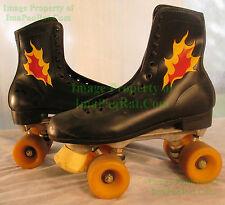 Vintage Custom Leather Roller Derby Skates Mens 8 Black w/ FLAMES - Must See