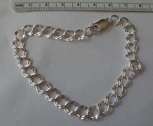 "9"" Sterling Silver 7 mm Diamond Cut Double 6-7 gram Charm Bracelet"