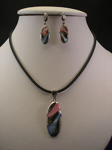 Beautiful 925 Silver Set With  Pink And Blue Enamel Colours With  Cord In Box