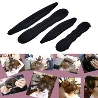 4x Magic Foam Sponge Clip Hair Styling Twist Tool Donut Bun Curler Maker RingJ&C