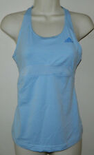 Women Adidas Running Work-Out Solid Sleeveless Blue Built-In Bra Top Size S