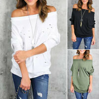 HOT Womens Off The Shoulder Blouse Loose Casual T Shirt Long Sleeve Tops Summer