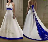 White/Ivory Royal Blue Satin Wedding Dress Halter Embroidery Bridal Gown Custom