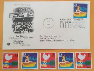 THE BEATLES Yellow Submarine Lot 6 Commem US Postage Stamps+1st Day Cover Cachet