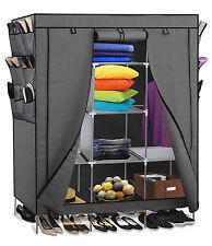 "69"" Portable Closet Storage Organizer Clothes Wardrobe Shoe Rack with Shelves"
