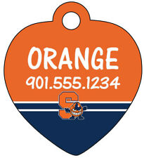 Syracuse Orange Pet Id Tag for Dogs & Cats Personalized w/ Name & Number