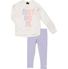 NIKE Girls 2 pc SET white JUST DO IT SWEATSHIRT lavender mist LEGGINGS 3/4Y