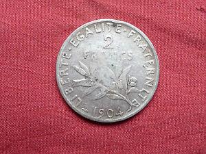 Pièce de 2 francs semeuse argent 1904 ,10gr ,  french silver coin