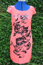 New Coast Pink & Black sequins Cost £125 short sleeve above knee dress size 10