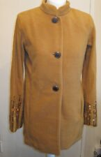 Bob Mackie Mandarin Collar Fleece Jacket with Sequin Detail Camel Size XS BNWT