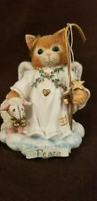 "Calico Kittens by Enesco 1994 ""Peace on Earth"" Angel Figurine with Box"