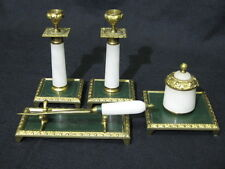 Early 20th Century Onyx & Gilt Brass 5 Piece Desk Set with Ink Well Green Enamel
