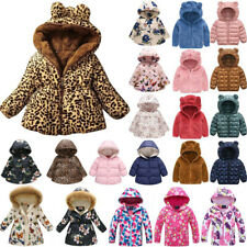 Kids Girls Winter Thermal Fluffy Hooded Coat Floral Zip Outwear Casual Snowsuit