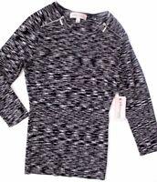 philosophy Women's Long Sleeve Stretch Black Gray Zip Shoulder Top Size L