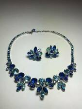 Vintage Blue Rhinestone Necklace and Earring Set