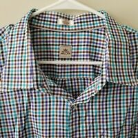 Peter Millar Mens Button Down Long Sleeve Shirt Blue Plaid Size 3XL EUC