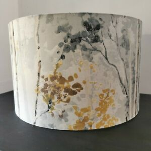 NEW HANDMADE LAMPSHADE Silver Birch Fabric in mustard ochre grey charcoal Large