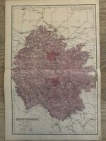 1884 Herefordshire Original Antique Hand Coloured County Map by Edward Weller
