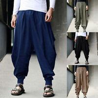 Fashion Men's Pants Harem Casual Baggy Hakama Linen Japanese Samurai Trousers