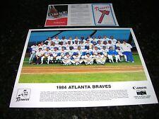 1984 ATLANTA BRAVES Team 8X10 Color Photo & Pocket Schedule w/ Coca-Cola ad EX