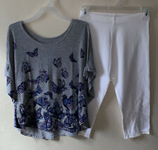 Justice Butterfly Top & Capri Legging Outfit Set