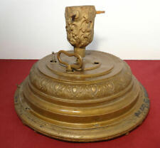 Victorian Germany Christmas Tree Stand Rotating Musical Music Box w/Key Gold