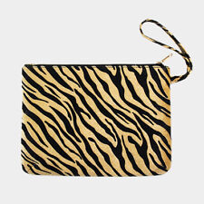 Black & Beige Tiger Animal Print Zippered Wristlet Pouch Clutch Tote Bag