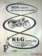 1957 Motor Cycle ADVERT - Velocette Valiant 'K.L.G. Spark Plugs' AD