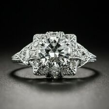 1.54 CT White Round Cut Diamond Vintage Engagement Ring In 925 Sterling Silver