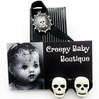 Vintage Skull Earrings Black White Goth Skeleton Clip On Halloween FREE GIFT BOX