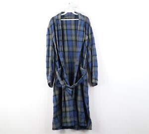 Vintage 80s Pendleton Mens One Size Wool Plaid Belted Bath Robe Loungewear USA